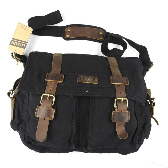 4f28248ec0 LUXUR Military Satchel Messenger Bag Canvas 15in